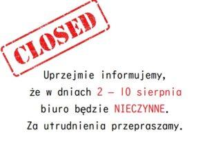 biuro zamknięte