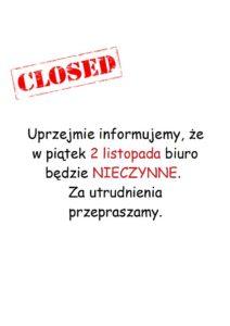 biuro zamknięte closed
